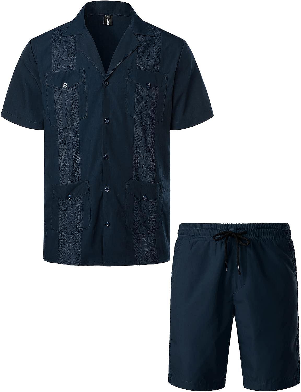 VATPAVE Mens Short Sleeve Button Down Cuban Guayabera Shirts Casual Suits