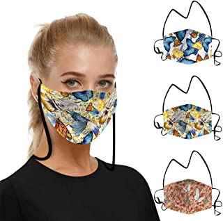 Padaleks 3PCS Adult Face Madks with Filter Pocket Dust Protect Mouth Face Bandana Balaclavas Washable Earloop Lanyard