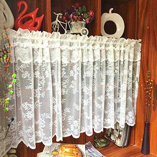 GSKB Cafe Curtains Net Kitchen Curtains Voile Short Curtain Lace Embroidery Half Curtain European Rural Style for Kitchen Bathroom Living Room