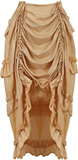 Women's Steampunk Skirt Ruffle High Low Outfits Gothic Plus Size Pirate Dressing