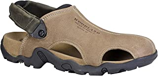 Woodland Men's Khaki Nubuck Leather Sandals (GD 2926118 Khaki)