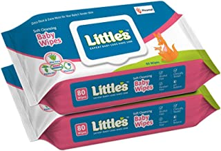 Little's Soft Cleansing Baby Wipes Lid, 80 Wipes (Pack of 2)