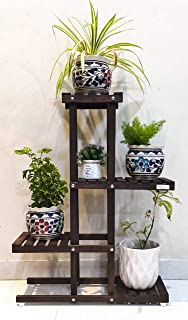 The Edge Interior Studio Decorative Solid Wood Multi-Layer Wooden Plant Stand for Home & Garden, Indoor & Outdoor Plant Stand - Brown 5 Pots Capacity(33 X 25 X 8 inch) (Walnut)