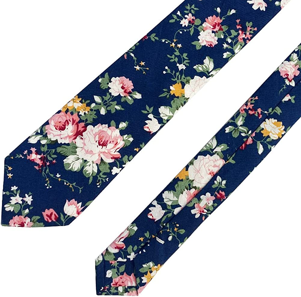 May Lucky Men's Skinny Tie Floral Print Cotton Necktie Slim Floral Ties for Wedding Party
