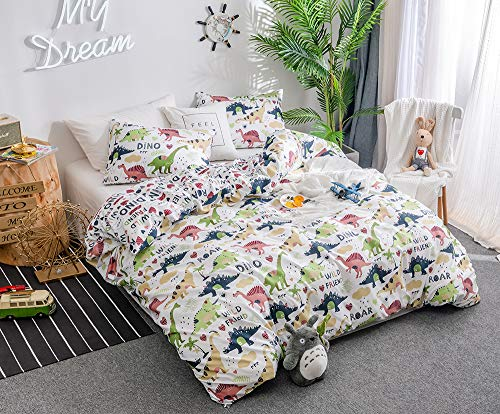 Duvet Cover Set Twin Size Kids Bedding Sets Comforter Cover with Soft Lightweight Microfiber 1 Duvet Cover and 1 Pillowcase (Twin,Dinosaur) White