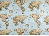 Zanderino ab 1m: Dekostoff, Weltkarte, multicolor, 140cm