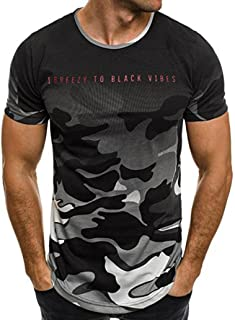 Mens T Shirts Charberry Fashion Personality Camouflage Men's Casual Slim Short-Sleeved Shirt Top Blouse Breezy to Black Vibes Print Short T Shirt (US-XL/CN-L2, Gray)