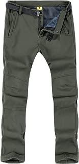 Rdruko Men's Outdoor Lightweight Waterproof Hiking Skiing Climbing Tactical Cargo Fleece Lined Pants with Belt