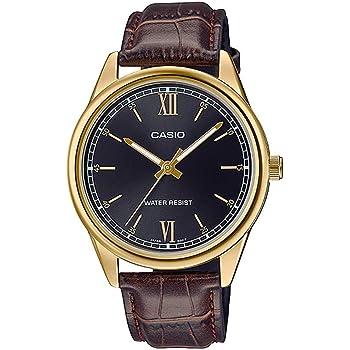 Casio MTP-V005GL-1B2 Men's Standard Analog Gold Tone Roman Black Dial Leather Band Watch