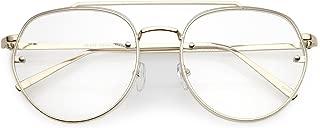 sunglassLA - Modern Round Aviator Eyeglasses Slim Brow Bar Rimless Clear Flat Lens 59mm