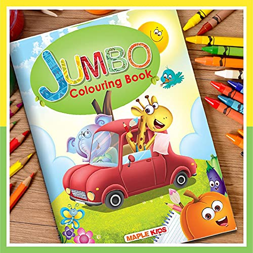 Jumbo Colouring Book - Activity Colouring Book for 3 to 5 years old kids - Gift to children for painting, drawing and colouring with reference guide