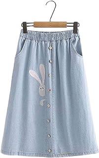 Himifashion falda midi para niña con bordado de conejo Kawaii cintura elástica con bolsillos