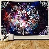 Likiyol Moon Star Tapestries - Tapiz con diseño de galaxia celestial con estrellas de la galaxia psicodélico, tapiz hippie, bohemio, mandala para habitación (multicolor, 180 x 235 cm)