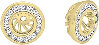 Dazzlingrock Collection 0.25 Carat (ctw) 14K Gold Round Cut Diamond Removable Jackets For Stud Earrings 1/4 CT