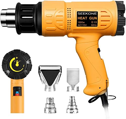 SEEKONE Heat Gun 1800W Heavy Duty Hot Air Gun Kit Variable Temperature Control with 2-Temp Settings 4 Nozzles 122℉~12...