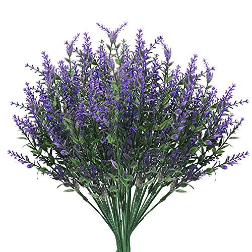 8 Stück Kunstblumen Lavendel Bouquet Kunststoff Gefälschte Lavendel Pflanze Lila Simulation Lavendel Blumenstrauß für Hochzeit Heimdekoration Garten Patio Pflanze Dekoration