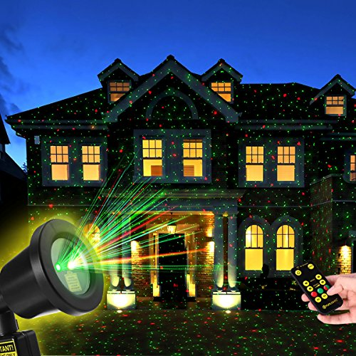 YUNLIGHTS Christmas Light Projector with RF Remote Control Red and Green Star Show Night Light Waterproof for Xmas Holiday Party Landscape Garden Decorations