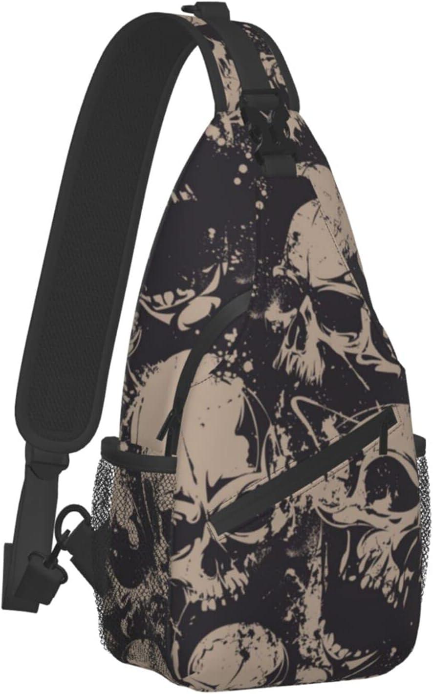 Sling Backpack Travel Hiking Daypack Skull 35% OFF Retro trust Halloween Gray