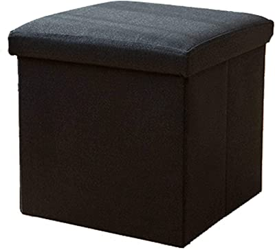 Home Linen Ottoman, Folding Cube Footstool Storage Box Toy Box Sofa Stool Suitable for Office Bedroom Living Room-25x25x25cm(10x10x10inch)-Black