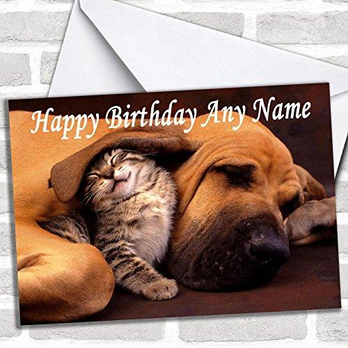Slapende hond & kitten verjaardagskaart met envelop, volledig gepersonaliseerd, snel en gratis verzonden