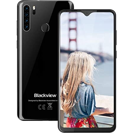 Mobile Phone, Blackview A80 PRO Smartphone Quad Rear Camera Dual SIM Free Android Phones with 4680mAh Big Battery, 6.49 inches Waterdrop Full-Screen, 4GB RAM+64G ROM, Fingerprint, Face ID - Black