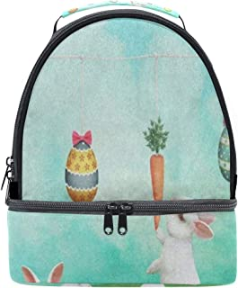 Lunch Bag Easter Bunny Tree Floral Egg Grass Double Layer Backpack Lunch Tote Insulated Reusable Adjustable Shoulder Strap