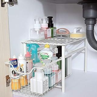 ZYHA sous l'évier Organisateur Rangement sous evier,Meuble de lavabo empilable,Organiseur avec Panier tiroir Coulissant,po...