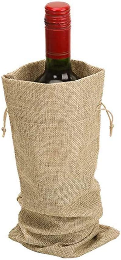 15cm pulgadas de arpillera vino botella bolsas de regalo con cord/ón MUXItrade 5pcs yute bolsas de vino 35 marr/ón