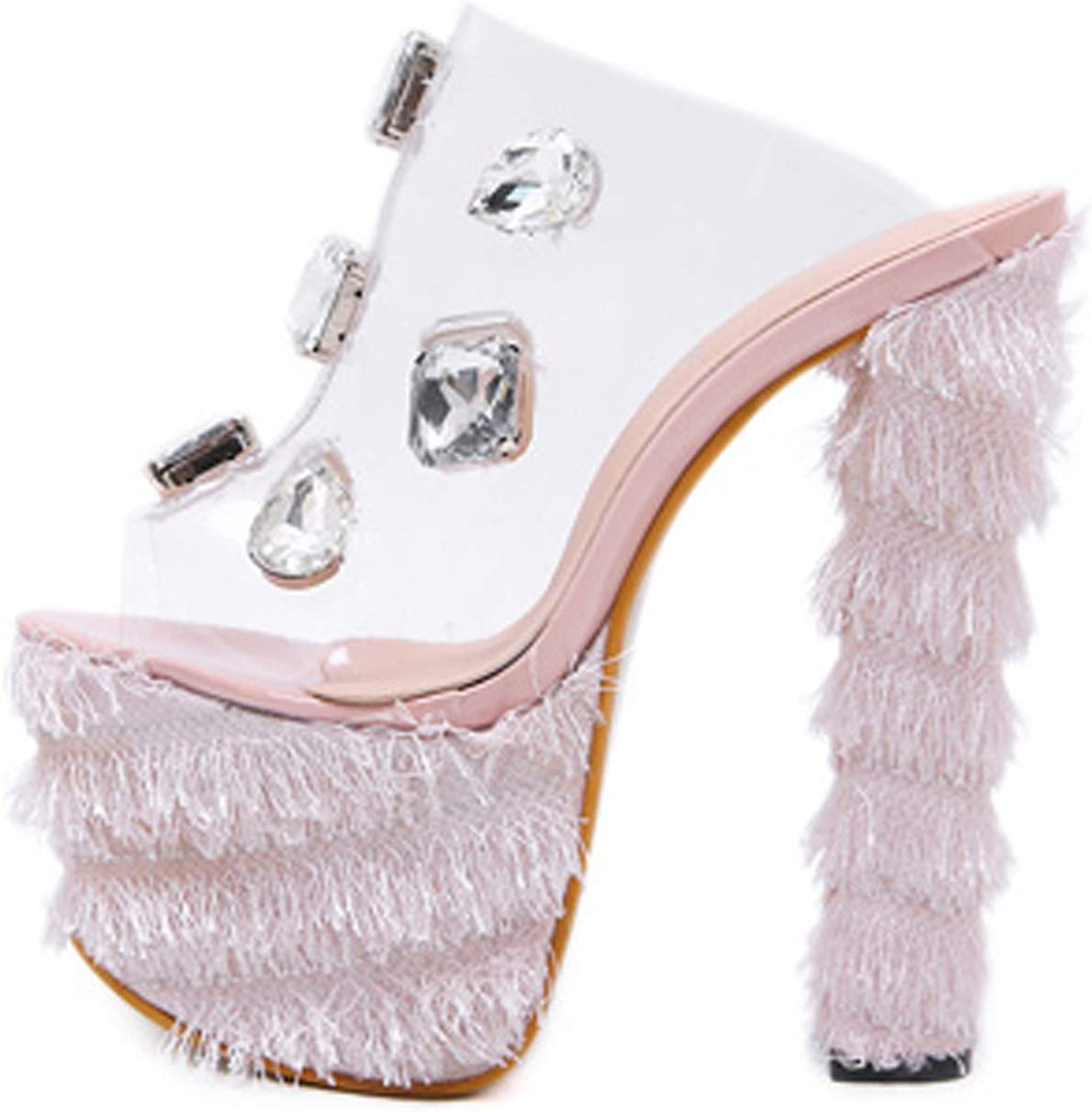 PVC Sandals Crystal Open Toed Sexy Spike Heels 16Cm Crystal Sandals Pumps Pink, Black