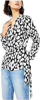 bar III Womens White Tie Printed Long Sleeve V Neck Wrap Top -Cheetah dots Size XXS