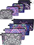 8 Pieces Makeup Bags Coin Purse Set, Includes 4 Pieces Cosmetic Bag Travel Waterproof Toiletry Pouch and 4 Pieces Zipper Small Coin Purse Change Bag for Women Girls, 4 Styles (Classic Pattern)