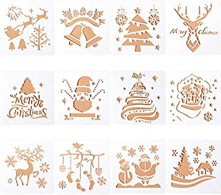 Kinteshun Christmas Bullet Journal Plastic Stencil Drawing Painting Template DIY Kit for Xmas Holiday Planner Album Scrapbooking Card Making(12pcs with Different Patterns)