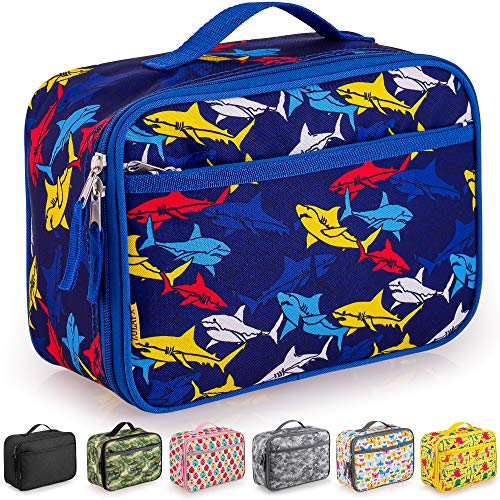 Zulay Insulated Lunch Bag - Thermal Kids Lunch Bag With Spacious Compartment & Built-In Handle - Portable Back To School Lunch Bag For Kids, Boys, & Girls To Keep Food Fresh (Sharks)