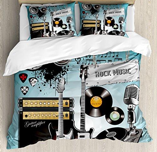 Música Rock juego de funda nórdica por Ambesonne, Concierto patrón guitarras y registros con gigante altavoces ornamentales arreglo, decorativo juego de cama con fundas de almohada, multicolor