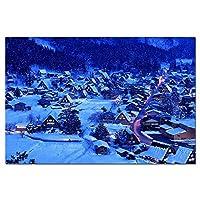 冬の夜白川日本風景壁紙壁アートポスターキャンバスプリント絵画家の装飾画像60×90センチフレームなし