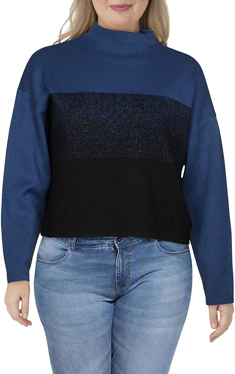 Anne Klein Womens Mock Neck Ombre Turtleneck Sweater