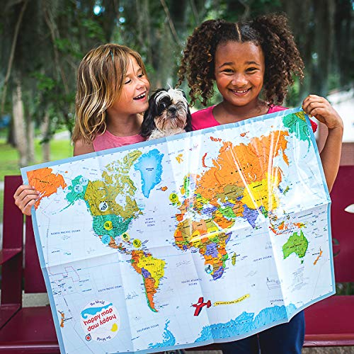 The World Happy Map for Kids, Laminated Write On Markable Foldable Map, School Classroom Educational Wall Display, Teach and Learn Geography, Plan Fun International Family Travel