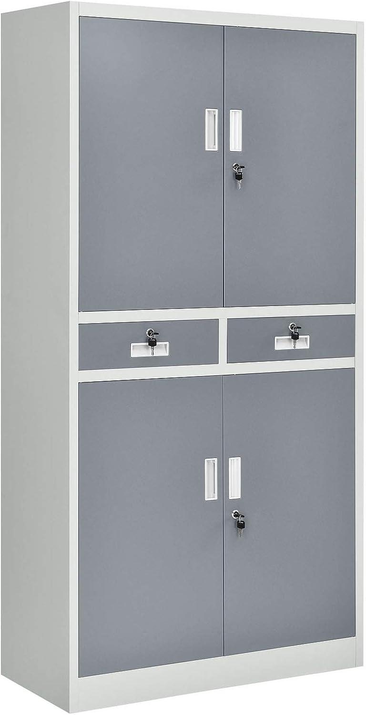 Juskys Aktenschrank Office 180x90 2-farbig mit 4 Türen und 2 Schubladen aus Metall