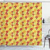 Cortina de ducha geométrico por Ambesonne, abstracto gráfico flecha diseño de rayas Patchwork Repeating Pattern, cuarto de baño Set de decoración de tela con ganchos, taupe luz azul y rosa