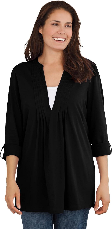 Woman Within Women's Plus Size Box-Stitched Split Neck Tunic