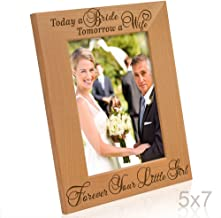Kate Posh Today a Bride, Tomorrow a Wife, Forever Your Little Girl Picture Frame - Engraved Natural Wood Photo Frame - Mother of The Bride Gifts, Father of The Bride Gifts (5x7-Vertical - Bride)