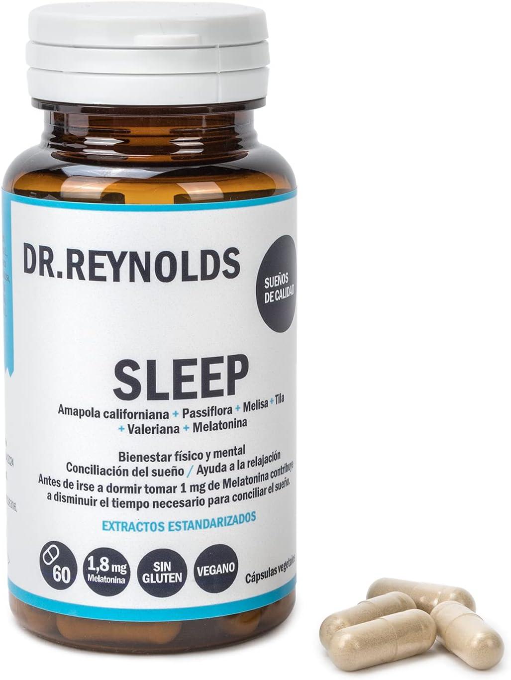 DR.REYNOLDS - Sleep   Melatonina 1.8 mg + Valeriana + Tila + Melisa + Pasiflora   Para dormir bien y mejorar el sueño   Ayuda a la relajación, fatiga y jet lag   Natural   Vegano   Sin Gluten   60 Uds