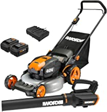 WORX WG960 20-inch 40V(5.0Ah) WG751 Cordless Lawn Mower and WG547.9 Power Share Cordless Turbine Blower