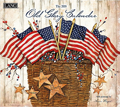 """Lang 18991001934-2018 Wall Calendar -""""Old Glory"""", Artwork by Susan Winget - 12 Month - Open 13 3/8"""" X 24"""""""