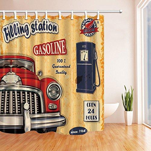 LRSJD Altes Auto an der Tankstelle im Vintage-Duschvorhang Polyestergewebe Wasserdichter Badvorhang 71X71 im Duschvorhang Haken inklusive Rot-Orange