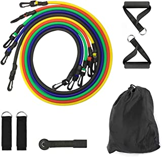 Konren Exercise Resistance Bands Set, Exercise Bands with Door Anchor, Handles, Waterproof Carry Bag, Legs Ankle Straps for Resistance Training, Physical Therapy, Home Workouts