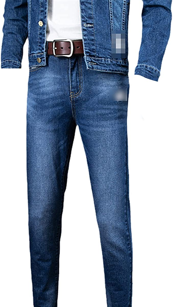 Two-Piece Suit Men's Denim Jacket Jeans Fashion All-Match Letter Printing Embroidery Slim Stretch Suit