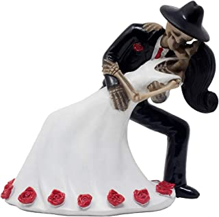 Spooky Skeleton Couple Figurine Dancing The Tango for Wedding Cake Topper and Day of The Dead Mexican Festival Décor or Halloween Party Decorations As Gothic