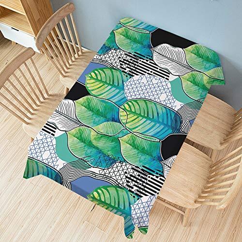 XXDD Mantel de Planta Verde Rectangular Cubierta de Mesa de Comedor de Fiesta Alfombra Ropa Impermeable decoración del hogar A14 135x135cm