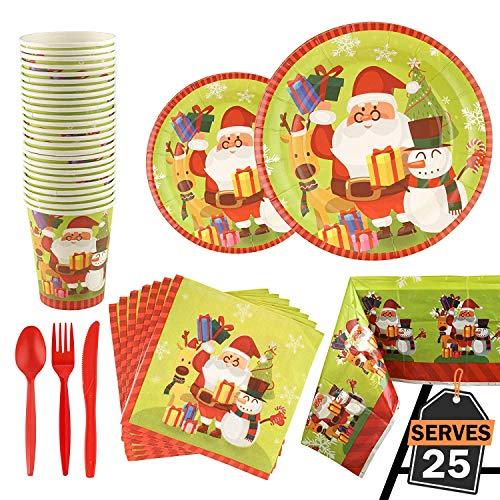 Vajilla Completa de 176 Piezas para Celebración de Navidad–Platos Desechables de Cartón-Vasos,...